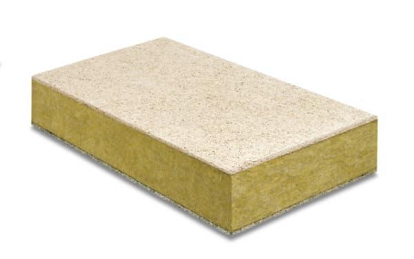 Stisolith® LR est un panneau en laine de roche revêtu d'un parement supérieur en laine de bois de couleur grise de 10 mm (côté béton) et d'un parement en laine de bois