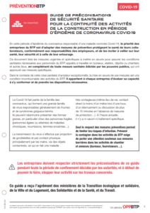 OPPBTP guide préconisations COVID BTP