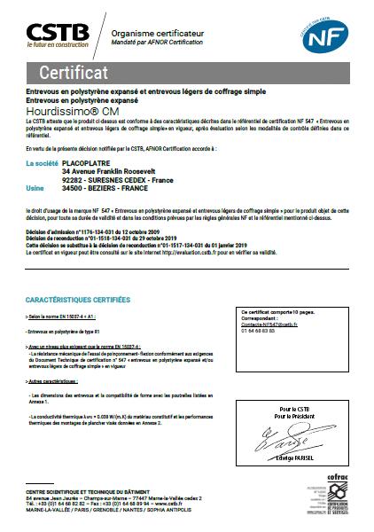 certificat NF entrevous hourdis PSE hirsch isolation