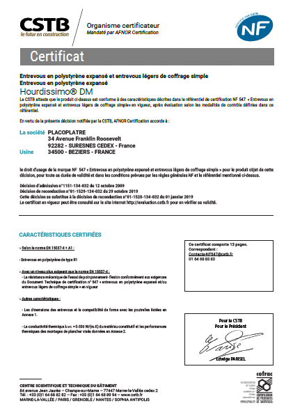 certificat NF entrevous hourdissimo PSE hirsch isolation