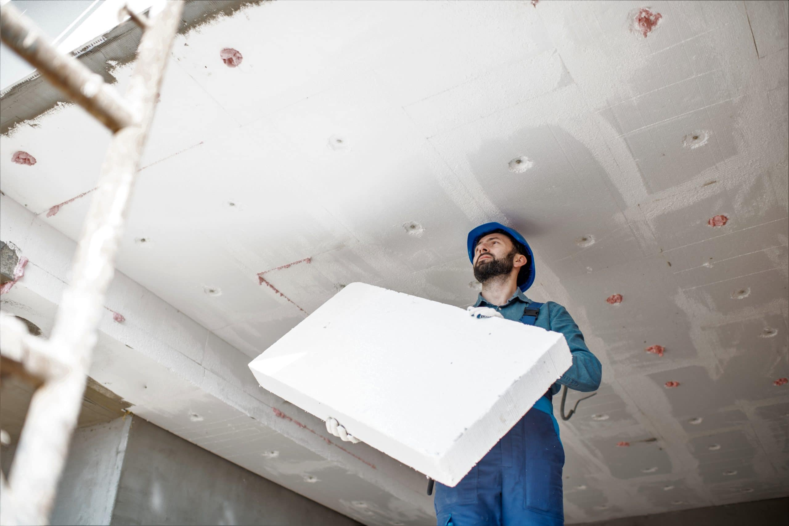 isolation plancher bas CEE polystyrene plafond garage