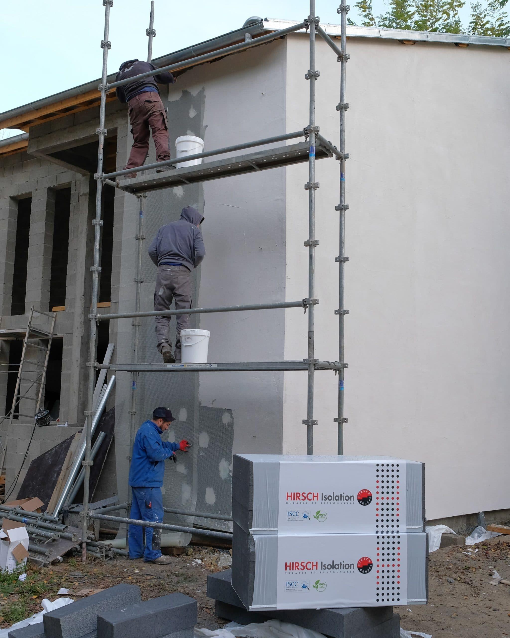 chantier ite hirsch isolation batiment construction